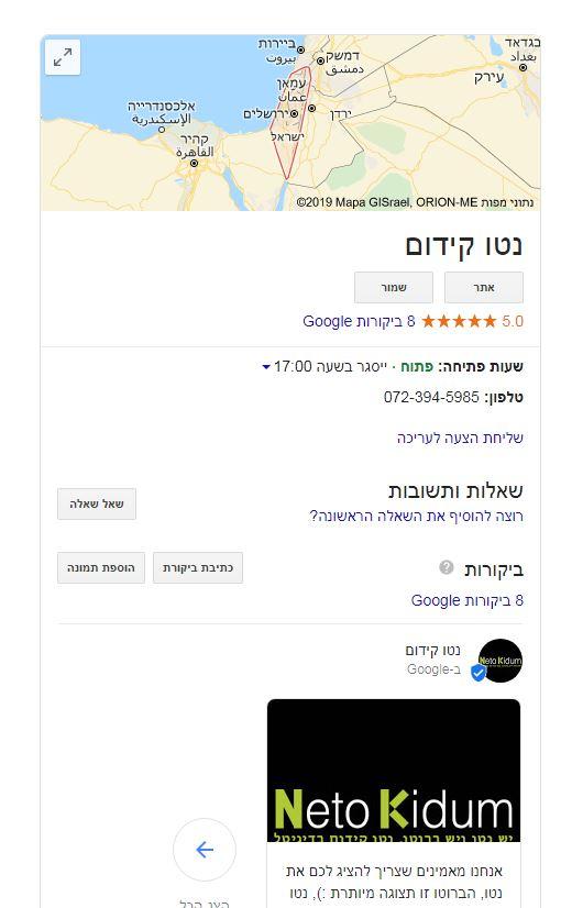 נטו קידום-דוגמא איך נראה גוגל לעסק שלי