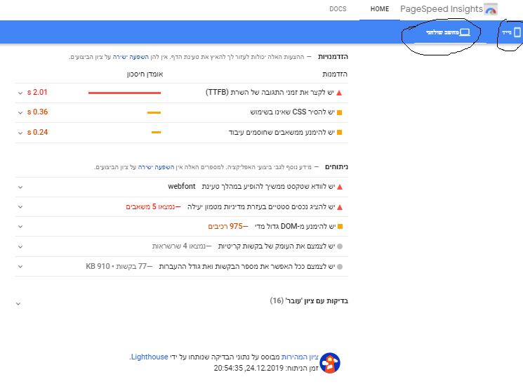 דוגמא לכלי PageSpeed Insights