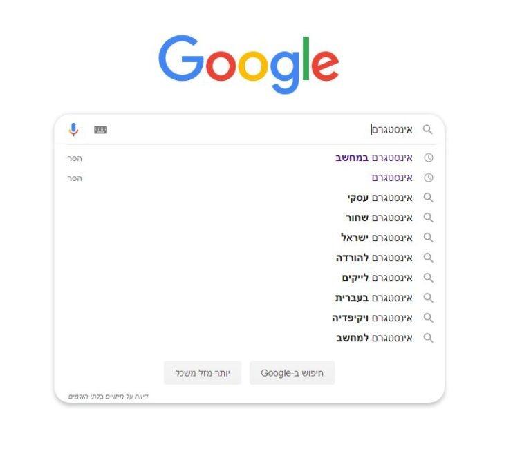 דוגמא לכלי החיזוי של גוגל